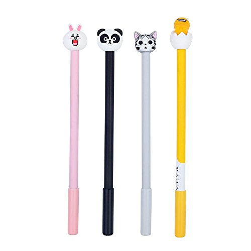 1 Executive Style Pen (Crystallove 4pcs Cute Animal Gel Ink Rollerball Pens, Black (Style)