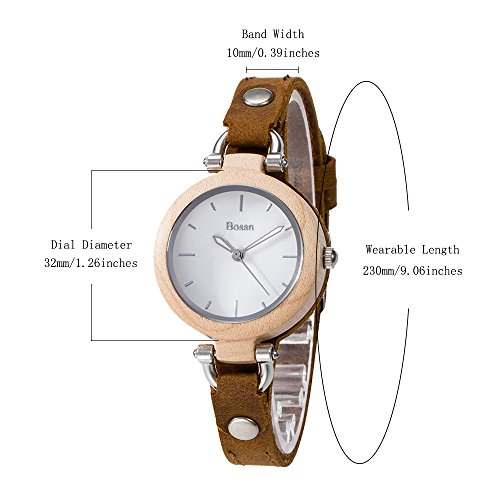 Wood Watch,Bosan Women Stylish CD Line Small Face Unique Design Wooden Wrist Watch with Light Genuine Leather Strap(Maple) by Bosan (Image #5)