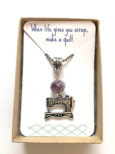 'When life gives you scrap make a quilt' Singer Sewing Machine Necklace Perfect Mothers Day gift for a seamstress