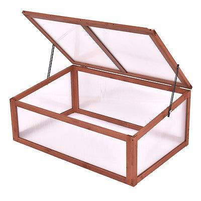 GHP 35.5″x25″x15″ Chinese Fir Wood Portable Box Garden Raised Plants Green House