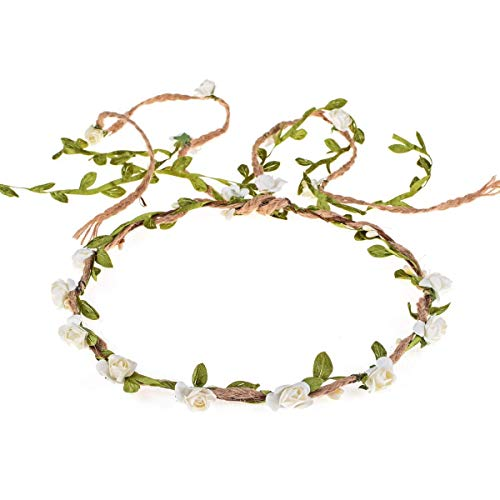 Ddazzling Flower Crown Floral Wreath Headband Floral, Ivory, Size One Size ()