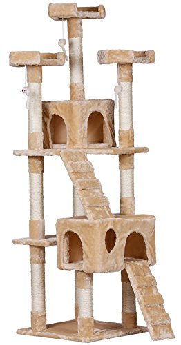 Global PetScene Small Cat Tree Scratcher Play House Condo...
