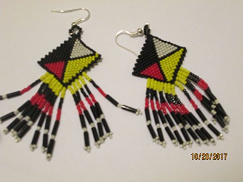 Earrings Indian Style Beaded (red white yellow red medicine wheel 4 four directions indian hand beaded dangle earrings Native American style southwest design tiny seed beads bugle red white black beadwork)
