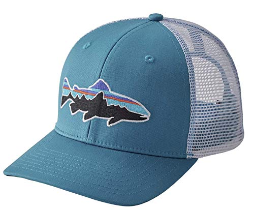 Patagonia Fitz Roy Trout LoPro Trucker Hat Lumi Blue White