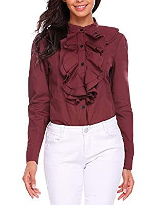 Zeagoo Women Ruffle High Neck Blouse Long Sleeve Button Down OL Shirt Tops