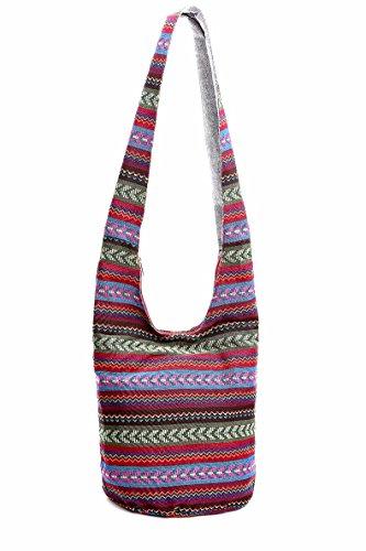Unmatched Sling Crossbody Bag Shoulder Bag Purse Hippie Ethnic Cotton Boho Thai Top Zip Handmade Bags (02)