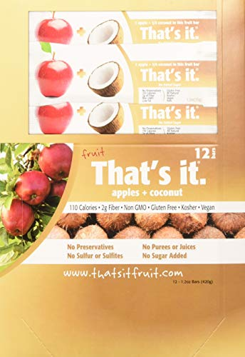 That's it Apple + Coconut 100% Natural Real Fruit Bar, Best High Fiber Vegan, Gluten Free Healthy Snack, Paleo for Children & Adults, Non GMO Sugar-Free, No Preservatives Energy Food (12 Pack)