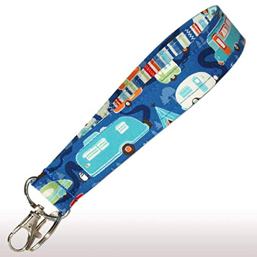 (Camper Keychain - Blue With Retro Campers - Camping Key Fob Strap - RV Accessories - 1 Inch Wide - 6 Inch Loop - Purse or Wallet Strap)