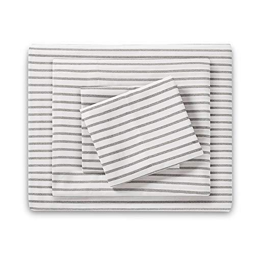 HONEYMOON HOME FASHIONS Twin Sheet Set Yarn Dyed Grey Stripe