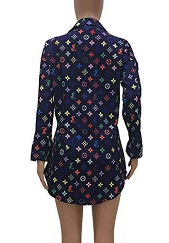 Tops Longues Shirts Hauts Automne Mode Chemises Printemps Bleu Revers Casual et Chemisiers Femmes Long Imprime Blouses JackenLOVE Marin Tunique Manches vwS6x1w
