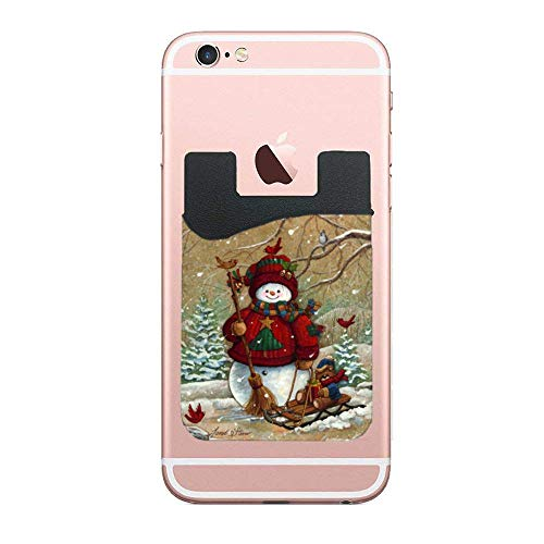 Credit Card/Id Card Holder, Snowman & Cardinals Cards Will Not Fall Out - 3M Sticker ()