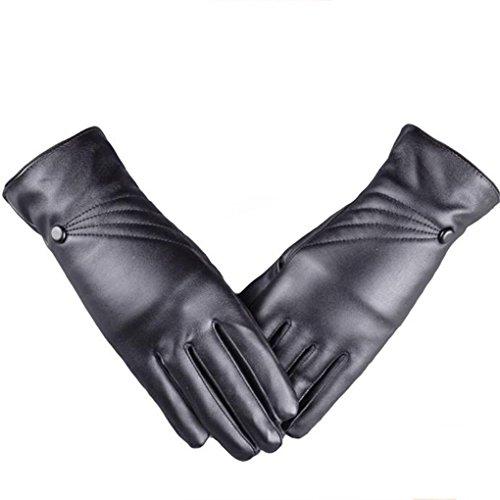 Women Gloves,Haoricu Fashion Luxury Winter Warm PU Leather Cashmere Girl Gloves Women Touch Screen