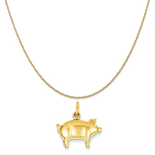 14k Yellow Gold Pig Charm on a 14K Yellow Gold Rope Chain Necklace, 18