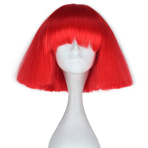 iCos Short Kinky Straight Hair Fluffy Bob Wig with Bangs Punk Halloween Cosplay Costume Wig (Red) ()
