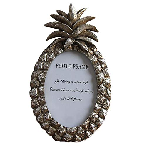 - MineDecor Picture Frame Animal Resin Vintage Photo Frames Ornament Stand for Table Top Desk (4x6, Pineapple, Silver)