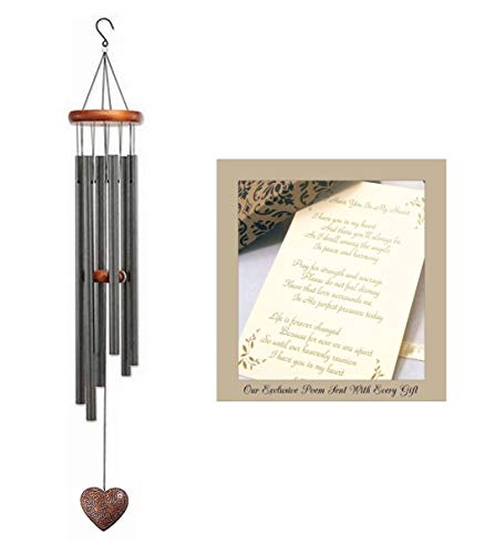 Beautiful Heart Large Wind Chime Send Sympathy Gift for Funeral Or Memorial When Someone Loses A Loved One