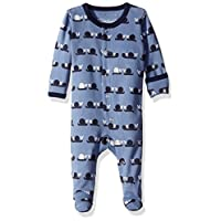 L'ovedbaby Baby Organic Cotton Footed Sleeper, Navy Snails, 6-9 Months