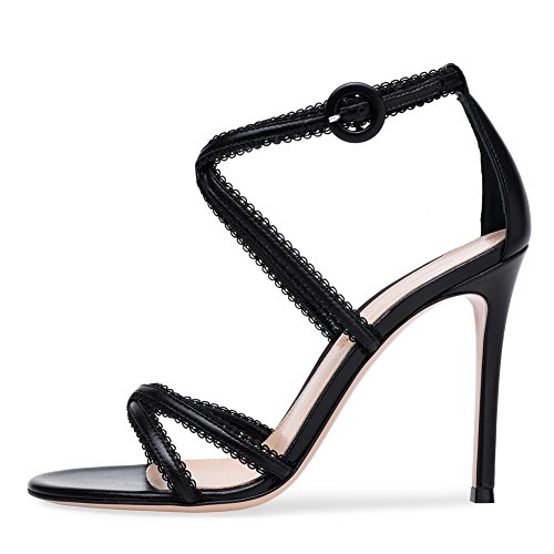 ZPL Womens Ladies High Heel Strappy Crossover Party Wedding Prom Sandals Shoes Size Black i3l3xqhV