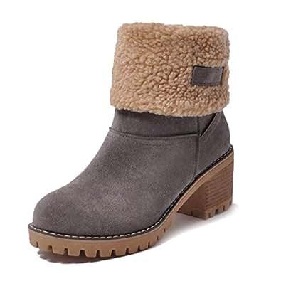 Amazon.com | Womens Warm Short Boots Suede Chunky Mid Heel
