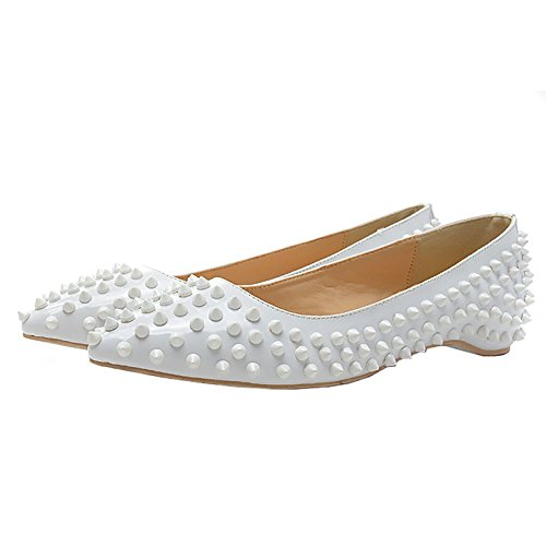Arc-en-Ciel women's shoes rivet pointed toe flats Blanco