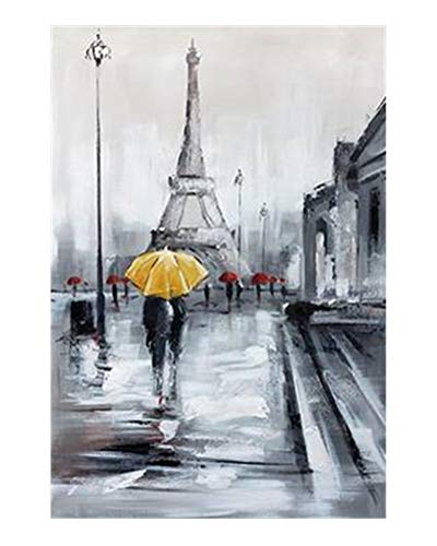 WOWDECOR Wall Art Modern Canvas Prints Painting - Paris Eiffel Tower Yellow Umbrella City Street View Giclee Pictures Printed on Canvas, Wall Decor for Home Living Room Bedroom - DIY Frame (Large) (Canvas Buddha Grey)