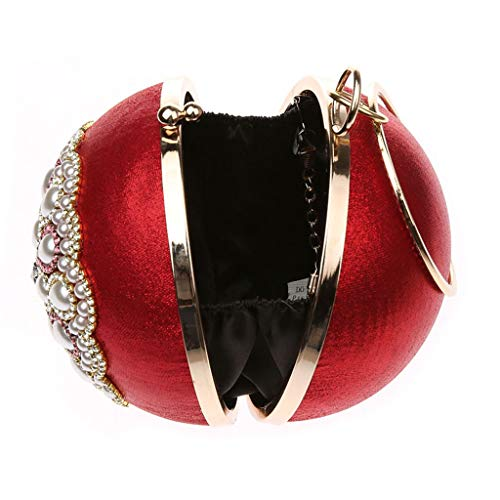Baosity Rouge Sacoche Bal Filles B À Party Bling Strass Paillettes D'epaule Main Cristal Sac D'embrayage 6Tx1wd