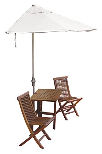 Blue Star Group Terrace Mates Villa Standard Table Set w/ 9'-Wide OFF-THE-WALL BRELLA - Natural Olefin - Olefin Natural Wall Umbrella