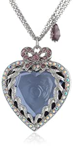"Betsey Johnson ""Iconic Amethyst"" Crystal Heart Long Pendant Necklace, 32"""