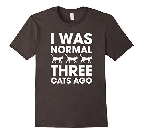 Mens I Was Normal Three Cats Ago T-Shirt 2XL Asphalt