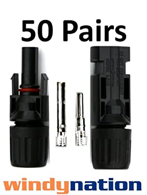 50 Pairs of MC4 Connectors for Solar Panels