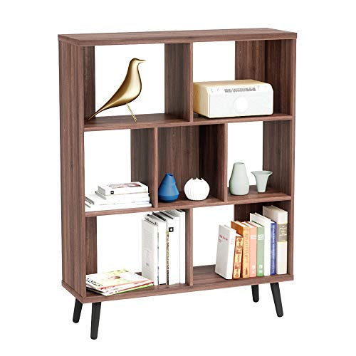 Bestier 3 Tier Display Bookcase Shelves Bookcase, 7 Open Shelf Cube Storage Organizer, Free Standing Wooden Bookcase, Mid-Century Modern Hollow Core Bookshelf for Living Room/Dining Room/Study, Walnut
