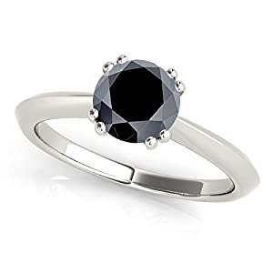 1 Carat Black Diamond Engagement Ring In 10k White Gold