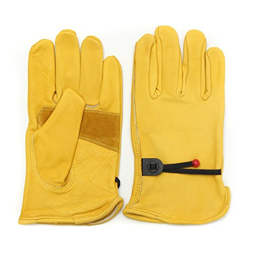 CoCocina Vintage Leather Yellow Motorcycle Motorbike Sport Racing Gloves S M L XL - M