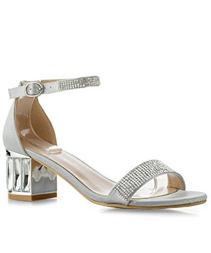 RF ROOM OF FASHION Charming-01 Open Toe Rhinestone Ankle Strap Jeweled Block Heel Dress Sandals Silver (7.5)