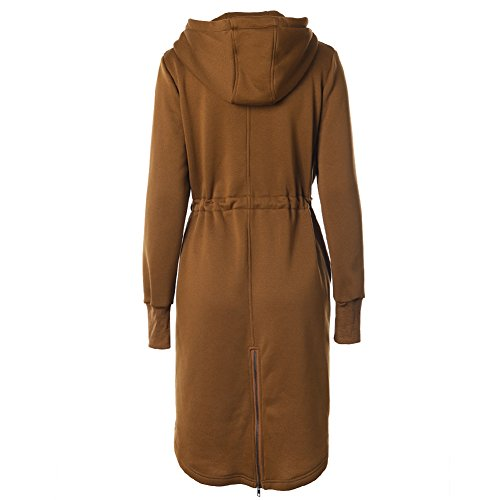 Cerniera Coulisse Giacca Inverno Lunghi 2xl Cappotti Nero S Felpe Donna Caffè Blu Autunno Cachi Hoodie Outfit Grigio Khaki Outerwear Yying xv8WpY