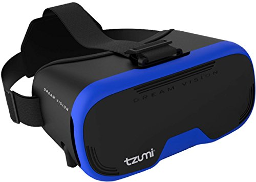 Tzumi Dream Vision Virtual Reality Smartphone Headset, Retracteable Built-in Ear Buds,fits all phones up to 6 inch, 360 Video Capability, Lightweight with high durability, Works with all VR apps. Blue]()
