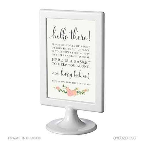 (Andaz Press Framed Wedding Party Signs, Floral Roses Print, 4x6-inch, Bathroom Basket Sign, 1-Pack, Includes)