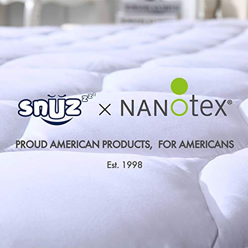 Snuzzzz Mattress Pad Full Mattress Cover Cooling Breathable Water Resistant Hypoallergenic Quilted Fitted Mattress Topper