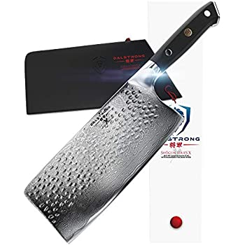Image of DALSTRONG Cleaver - Shogun Series X - Damascus - Japanese AUS-10V Super Steel - Vacuum Treated - 7' Hammered - Sheath Home and Kitchen
