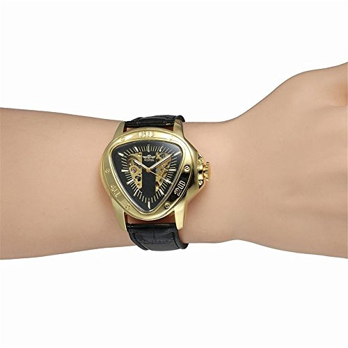 Amazon.com: Luxury Men Automatic Self Wind Mechanical Wrist Watches Top Brand Triangle Golden Case Black Dial Mens Watches Reloj Hombre: Watches