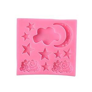 Hosaire - Stampo da pasticceria, pratico, in silicone, per ghiaccio, fondente, 3D, a forma di nuvola, luna, bricolage… 9 spesavip