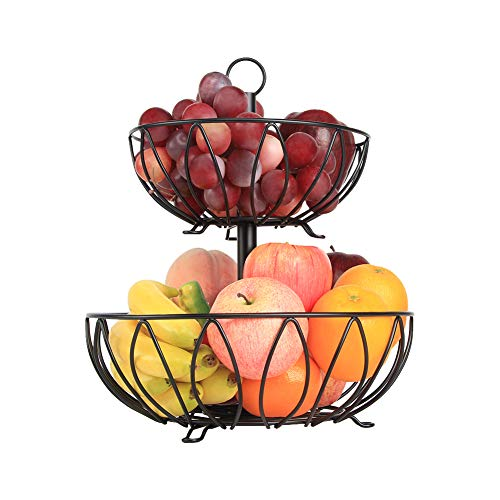 - Fruit Stand Vegetables Basket Counter Top Fruit Basket Bowl Storage Black Cast Iron (2-Tier)