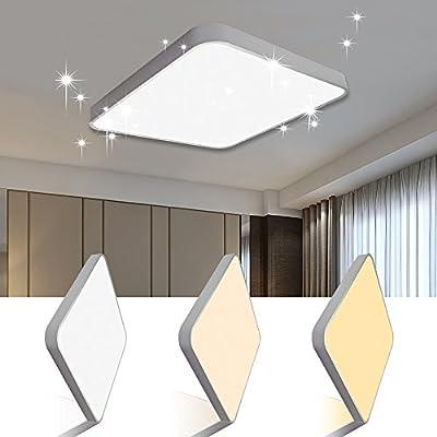 Vgo plafón LED salón lámpara de cocina Starlight efecto techo iluminación lustre dormitorio comedor de bajo consumo (50W Cuadrado Cambio De Color)