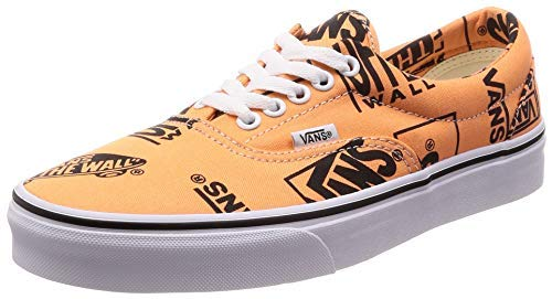 Vans Unisex Era Canvas Skate Shoes (Tangerine/Black, 6 B(M) US Women/4.5 D(M) US Men)