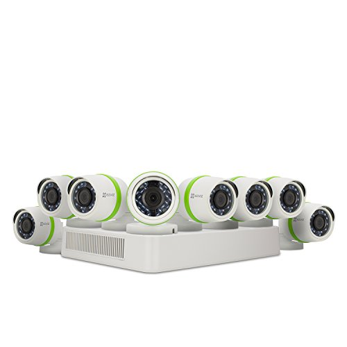 EZVIZ FULL HD 1080p Outdoor Surveillance System, 8 Weatherproof HD Security Cameras, 16 Channel 2TB DVR Storage, 100ft Night Vision, Customizable Motion Detection