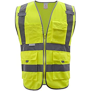 Panegy Multi Pockets High Visibility with Reflective Tape Zipper Front Safety Vest Hi-Vis Yellow M