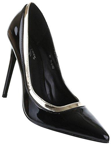 Damen-Schuhe Pumps | Frauen High Heels mit 11 cm Stiletto-Absatz in verschiedenen Farben und Größen | Schuhcity24 | Klassische Abendschuhe in Lacklederoptik Schwarz