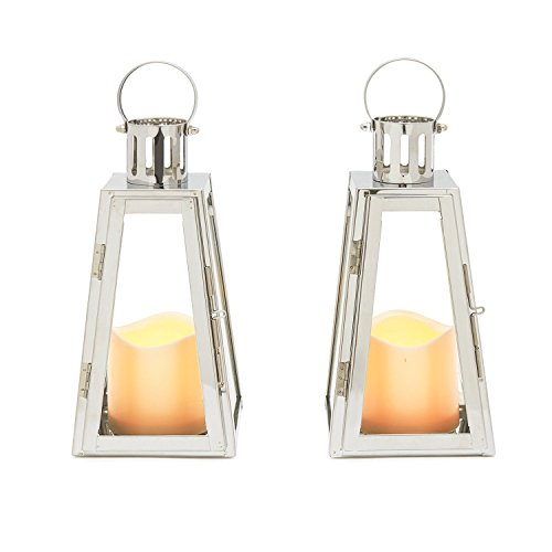 Stainless Steel Glass Flameless Lantern with Timer