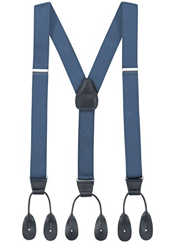 Hold'Em Suspender for Men Made in USA Y-Back Genuine Leather Trimmed button end tuxedo suspenders Many colors and designs - Denim (Tall, 54