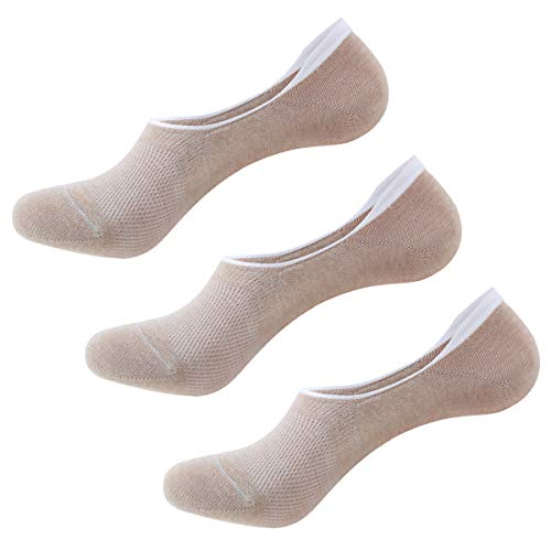 Cozywow Cotton No Show Socks Non Slip Sports Casual Socks for Women & Men 3Pairs/6 Pairs (US Women Shoe 10-12 = Men 8-11, A 3 Pairs-Light Apricot)